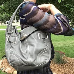 FRANCESCO BIASIA slouch gray leather handbag purse